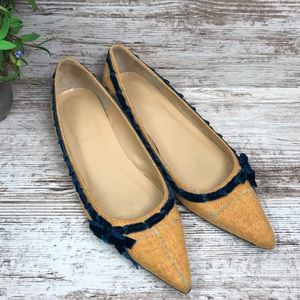 J. Crew Pointed Toe Yellow Tweed Velvet Bow Flats